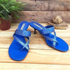 Manolo Blahnik Susa snakeskin strappy heel Sandal